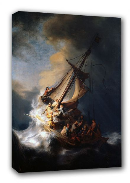 Rembrandt Harmenszoon van Rijn: Christ in the Storm on the Sea of Galilee. Biblical/Religious Fine Art Seascape Canvas. Sizes: A3/A2/A1 (00178)